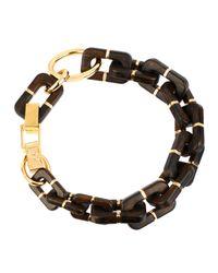 Diane von Furstenberg | Metallic Large Geometric Wood Link Necklace | Lyst