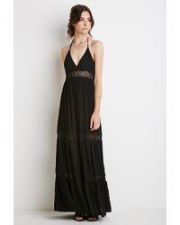 Forever 21 | Black Crocheted Halter Maxi Dress | Lyst
