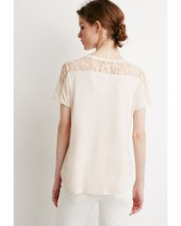 Forever 21 - Natural Contemporary Lace-paneled Tee - Lyst