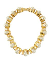 Lele Sadoughi | White Simulated Pearl Groove Necklace | Lyst