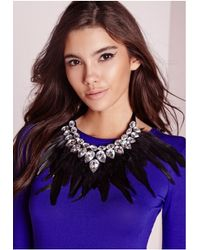 Missguided - Black Statement Feather Necklace - Lyst