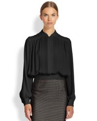 Tamara Mellon - Black Cropped Silk Blouse - Lyst