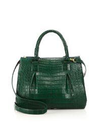Nancy Gonzalez - Green Medium Crocodile Plisse Satchel - Lyst
