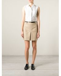 Burberry Brit - Natural Inverted Pleat A-Line Skirt - Lyst