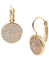 Anne Klein | Metallic Gold Tone Pave Drop Earrings | Lyst