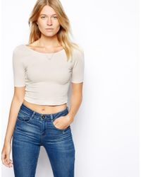 ASOS - Natural Crop Top With Half Sleeve And Scoop Back - Lyst