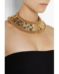Balmain - Metallic Quiltedeffect Goldplated Necklace - Lyst