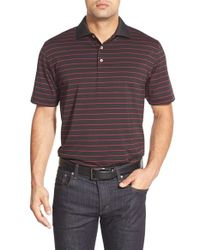 Peter Millar | Black 'Quarter Stripe' Moisture Wicking Stretch Jersey Polo for Men | Lyst