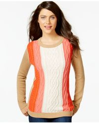 Tommy Hilfiger | Multicolor Colorblocked Cable-knit Sweater | Lyst
