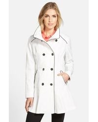 Guess | White Piped Stand Collar Trench Coat | Lyst