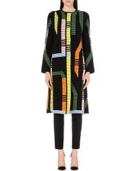 Peter Pilotto | Black Geometric-pattern Wool-blend Coat | Lyst