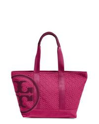 Tory Burch | Red 'small Penn' Quilted Zip Tote | Lyst