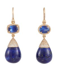 Irene Neuwirth - Blue Mixed-gemstone Double-drop Earrings - Lyst