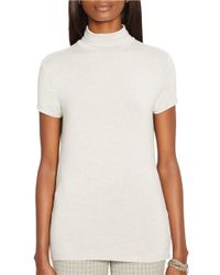Lauren by Ralph Lauren | Gray Petite Short Sleeve Mockneck Top | Lyst