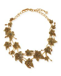 Oscar de la Renta | Metallic Ivy Leaf Crystal Necklace | Lyst