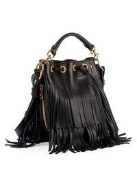 Saint Laurent | Black Emmanuelle Tiered Fringe Bucket Bag | Lyst