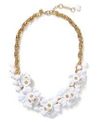 Banana Republic - Metallic White Floral Statement Necklace  - Lyst