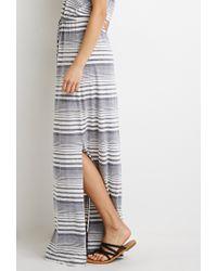 Forever 21 | Gray Striped High-slit Maxi Dress | Lyst