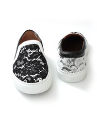 Givenchy - Black Leather And Lace Skate Shoes - Lyst