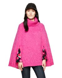 kate spade new york | Pink Chunky Knit Sweater Cape | Lyst