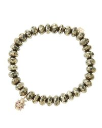 Sydney Evan | Metallic 8Mm Faceted Champagne Pyrite Beaded Bracelet With 14K Gold/Diamond Medium Ladybug Charm (Made To Order) | Lyst