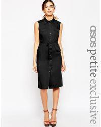 ASOS | Black Petite Sleeveless 70's Shirt Dress | Lyst