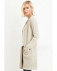 Forever 21 - Brown Textured Open-front Cardigan - Lyst