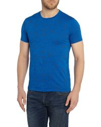 Armani Jeans | Blue Slim Fit Crew Neck All Over Web Printed T Shirt for Men | Lyst