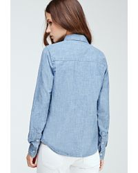 Forever 21 - Blue Two-pocket Chambray Shirt - Lyst