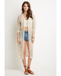 Forever 21 | Natural Open Knit Longline Cardigan | Lyst