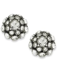 kate spade new york | Metallic Antique Silver-Tone Crystal Ball Stud Earrings | Lyst