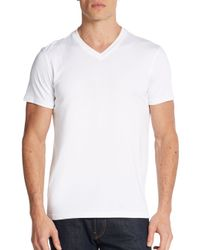 Saks Fifth Avenue | White Pima Cotton V-neck Tee for Men | Lyst