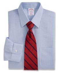 Brooks Brothers | Blue All-cotton Non-iron Regular Fit End-on-end Shadowgrid Dress Shirt for Men | Lyst