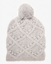 Exclusive For Intermix - Gray Popcorn Cable Knit Beanie - Lyst