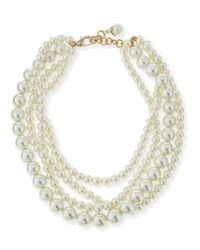 Lulu Frost | White Simulated Pearl Multi-strand Necklace | Lyst