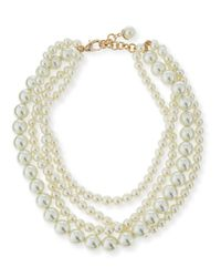Lulu Frost - White Simulated Pearl Multi-strand Necklace - Lyst