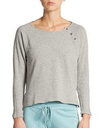 James Perse | Gray Raglan Button-detail Sweatshirt | Lyst