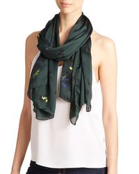 Proenza Schouler - Green Floral Silk Scarf - Lyst