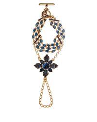 Oscar de la Renta - Blue Crystal Flower Hand Bracelet - Lyst