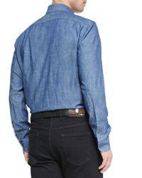 Ermenegildo Zegna - Blue Woven Denim Shirt for Men - Lyst
