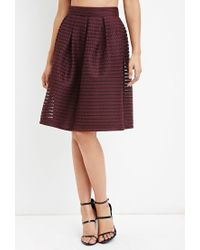 Forever 21 | Purple Shadow Stripe Mesh Skirt | Lyst