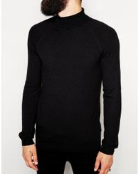 ASOS - Black Roll Neck Jumper In Cashmere Blend for Men - Lyst