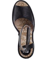 Fly London | Yula Wedge Sandal Black Leather | Lyst