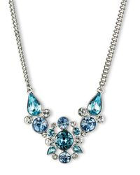 Givenchy - Metallic Aqua Light Sapphire Crystal Frontal Necklace - Lyst