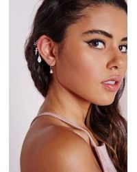 Missguided - Multicolor Charm Drop Earrings Multi Pack Silver - Lyst