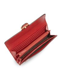 Gucci - Red Shanghai Blooms Leather Continental Wallet - Lyst