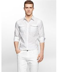 Calvin Klein | White Jeans Slim Fit Geometric Jacquard Shirt for Men | Lyst