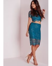 Missguided - Blue Lace Midi Skirt Teal - Lyst