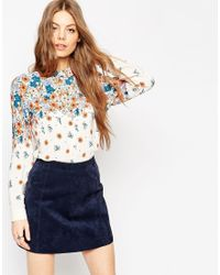 ASOS | Brown Placement Print Ditsy Floral Blouse | Lyst