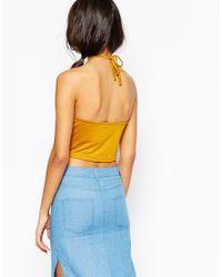 Daisy Street - Blue Halter Neck Crop Top - Lyst